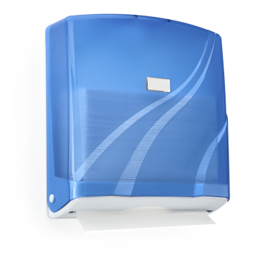 Диспенсър за хартия зигзакообразни салфетки. 300 салфетки - Син/Прозрачен